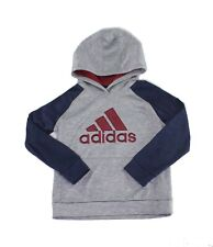 Adidas Boys Sweaters Gray Size 7 /7X Hooded Raglan Pullover Space Dye $36 432