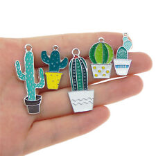 5 pcs Mix Green Enamel Cactus Plants Charms Pendants Jewelry Crafts Accessories