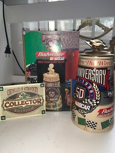 Budweiser NASCAR 50th Anniversary 1948-1998 Lidded Beer Stein