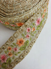 """3 Yards Floral Peach Pink Green Antique Gold Indian Saree Lace Border Trim 2.25"""""""