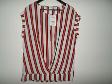 NEXT VISCOSE RED WHITE AND BLACK STRIPED TOP SIZE 12 BNWT RRP £24