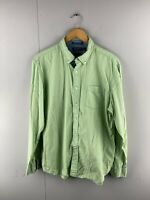 Nautica Mens Vintage Long Sleeve Button Up Shirt Size Large Green