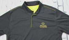Allstate Insurance Dri-Fit Golf Polo Shirt Gray Yellow Size Medium Fits Small