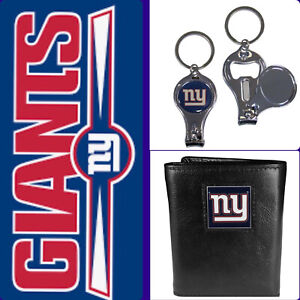 🏈NEW🏈NY Giants Black Leather Tri-Fold Wallet & 3-in-1 Nailclipper Keychain