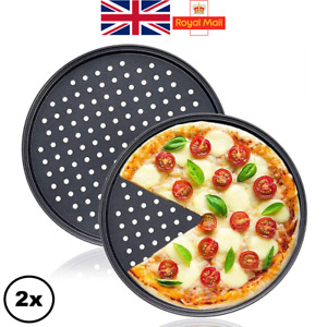 """2 x Pizza Tray Non Stick Perforated 33cm 13"""" for Crispy Crust"""