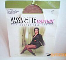 Vassarette Hosiery Pantyhose Lace Trim Control Top Silky Sheer Nude AA  #7220