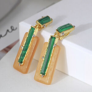Alexis Bittar Gold Plated Stone Retro Drop Lucite Clip-On Earrings