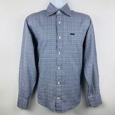 Faconnable Mens Shirt Size Medium Blue Black Houndstooth Plaid LS Buttonup