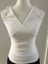 WHBM White House Black Market  V Criss Cross Fitted Sleveless Top XXS White