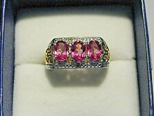 Pink Mystic Topaz(2.65ct) &dia(.01ct) ring in 14K YG & Platinum over 925 sz 7