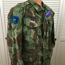 Vintage Army Camo Camouflage Coat Jacket NATO ??? with patches Size XL   #C23