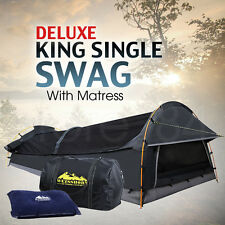 Deluxe King Single SWAG Dome Camping Canvas Tent w/ Mattress & Air Pillow - GREY