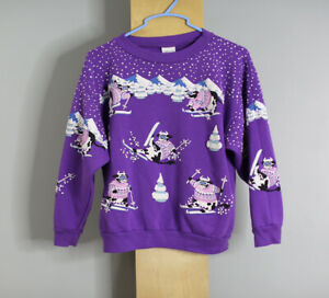 Vintage AOP Sweatshirt Girls Size Large Can Fit Womens Small Cows Skiing  A