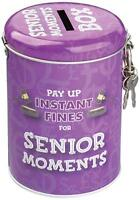 Senior Moment Novelty Fine Tin Money Storage Lockable Piggy bank Saving Jar Gift