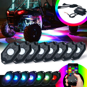 Xprite 8pcs RGB LED Rock Lights Bluetooth Dancing for Trucks Jeep UTV Buggy
