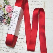 "10y Hank Vtg French Red Ribbon 5/8"" Dbl Face Matte Satin Trim Doll Dress Hat"