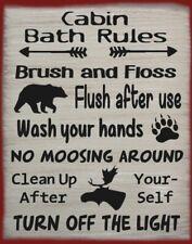 Cabin Bath Rules Canvas Country Lodge Rustic Primitive Home Decor