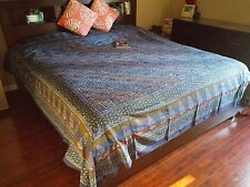 Handmade 100% Cotton Dabu Hand Block Print Tapestry Tablecloth Spread Blue Full