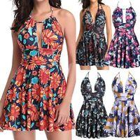 Plus Size Women One-piece Bikini Swimsuit Print Swim Dress Skirted Bathing Suit