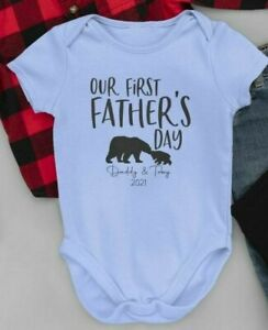 1st Father's Day Vest Personalised Name Bear Baby Grow Bodysuit Dad Gift Daddy