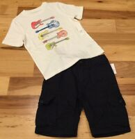 Gap Kids Boys Size 7 Outfit. Guitar Shirt & Navy Blue Cargo Shorts. Nwt