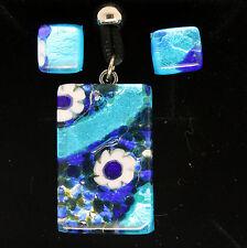 Azul claro y oscuro Murano Cristal Colgante Y Aretes conjunto de Venecia