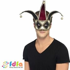 GOTHIC JESTER HARLEQUIN MASQUERADE EYE MASK WITH BELLS - mens fancy dress