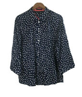 Foxcroft Fitted Fit Women's Size 18 Polka White Dots Blue Shirt 3/4 Sleeve