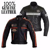 Mens Motorbike 100% Genuine Leather Waterproof Jacket Motorcycle CE Protection