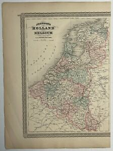 Antique Johnson's Map of Holland and Belgium