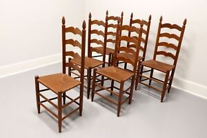 Vintage 1950s Solid Cherry Ladder Back Dining Chairs with Rush Seats - Set of 6