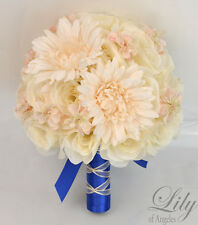 17 Piece Package Silk Flower Wedding Bridal Bouquet Light Peach Royal Blue Ivory