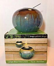 Decorative Reactive Glazed Fire Crock -  Uses Gel Fuel for Indoor or Outdoor Use