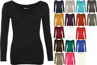 New Womens Plain Jersey V-Neck Ladies Basic Long Sleeve Stretch T-Shirt Top 8-14