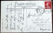 """Vintage Postcard with French 1909 """"Ligne D'Alger"""" Maritime Cancel (Se2)"""