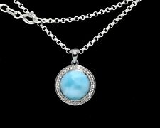 Larimar AAA 10mm W/Topaz Pave Combination  925 Sterling Silver 18' Necklace