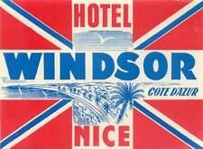 NICE FRANCE COTE D'AZUR HOTEL WINDSOR VINTAGE LUGGAGE LABEL