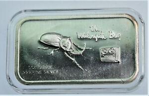 WaterGate Bug vintage 1 oz .999 silver bar in capsule