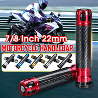 "1 Pair 22mm 7/8"" Motorcycle Handle Bar Hand Grips CNC Carbon Fiber For Honda"
