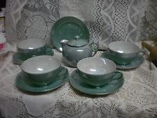 (11) PIECES Vintage GREEN Mother Of Pearl Fine China Made In Japan