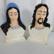 Vintage Holland Mold Jesus Virgin Mary Hand Painted Glazed Busts