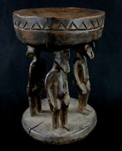 Art Africain Tribal - Tabouret à Cariatides Senoufo Ancien & Usuel - 26,5 Cms