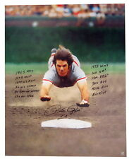 "Pete Rose ""The Dive"" Autographed Signed 28x35 Stat Canvas Print ASI Proof"