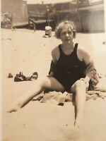 Vintage 1920s Pretty Woman in Swimsuit at the Beach Original Snapshot Photo