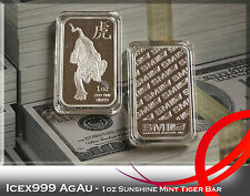 1oz Sunshine Mint Tiger .999 Fine Silver Bullion Bar