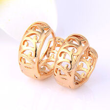 Fashion Jewelry Round Womens Huggie Hoop Earring Real Gold Filled Filigree
