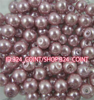 Z003H light purple Glass Pearl Round Spacer Loose Beads 4/6/8/10mm DIY Wholesale