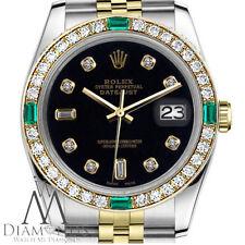 Emerald & Diamond Rolex 36mm Datejust 18K & SS Black 8+2 Diamond Accent Dial