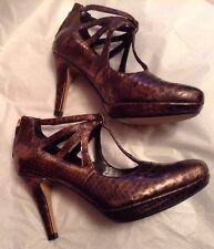 New🌹Clarks🌹UK 3.5 Betsy Lockwood Bronze Snake Platform Leather Heel Shoes 36EU