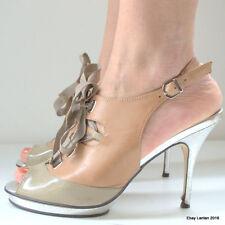 Kurt Geiger, London - Leather High Heel Stiletto Shoes Cream Silver UK 5 EU 38